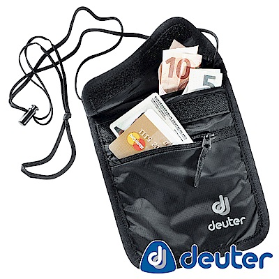 【ATUNAS 歐都納】德國DEUTER隱藏式掛頸錢包3942116黑/旅遊防竊隨身配件包
