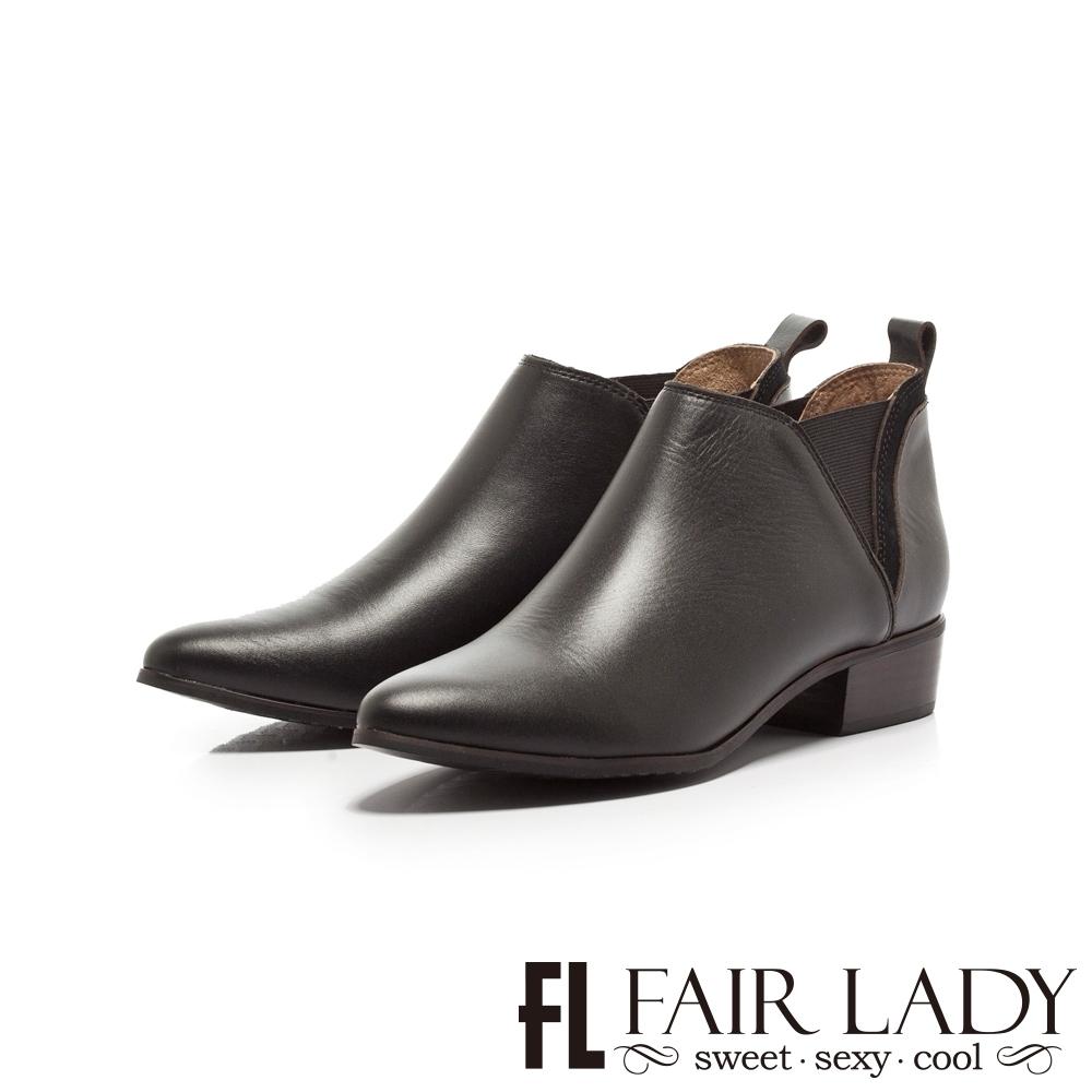 Fair Lady原色皮革拼接尖頭低跟短靴 黑