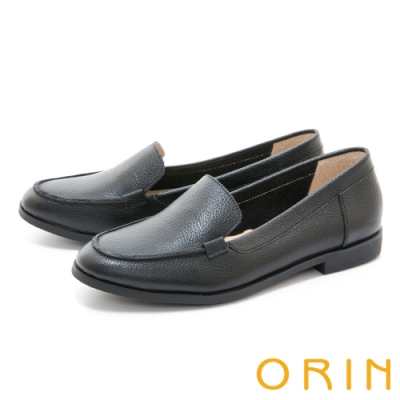 ORIN 荔枝紋真皮素面樂福 女 平底鞋 黑色