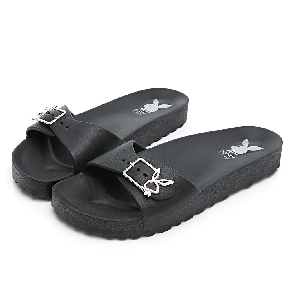 PLAYBOY 簡約輕量單釦休閒拖鞋-黑-YT613CC