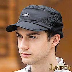JUNIPER 男款防潑水保暖可對摺帽眉刷毛絨內裡防寒軍人平頂護耳冬帽