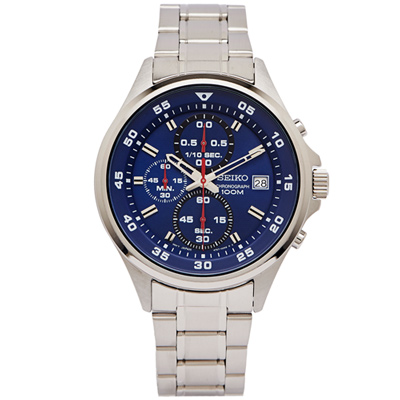 SEIKO  競速時尚感的三眼計時手錶(SKS625P1)-藍面X銀色/43mm