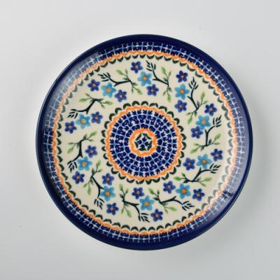 波蘭陶 藍花綠葉系列 淺底圓形餐盤 19cm 波蘭手工製