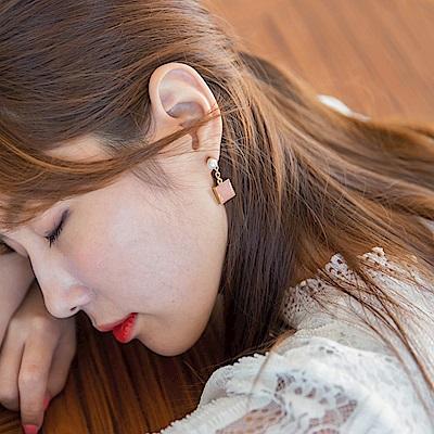 方塊寶石串飾珍珠耳環-OB大尺碼