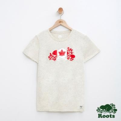 女裝Roots加拿大系列-海狸國旗短袖T恤-灰色