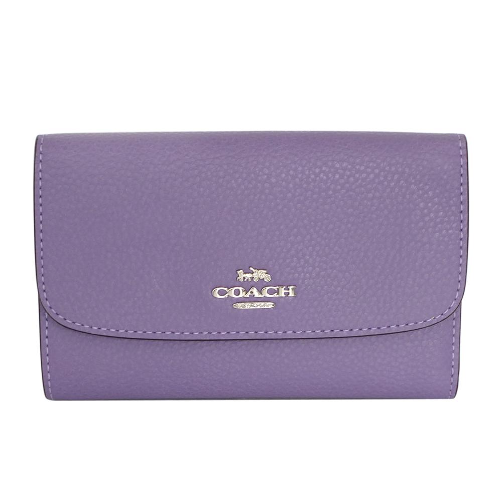 COACH礦紫色荔枝紋全皮釦式三摺薄型中夾