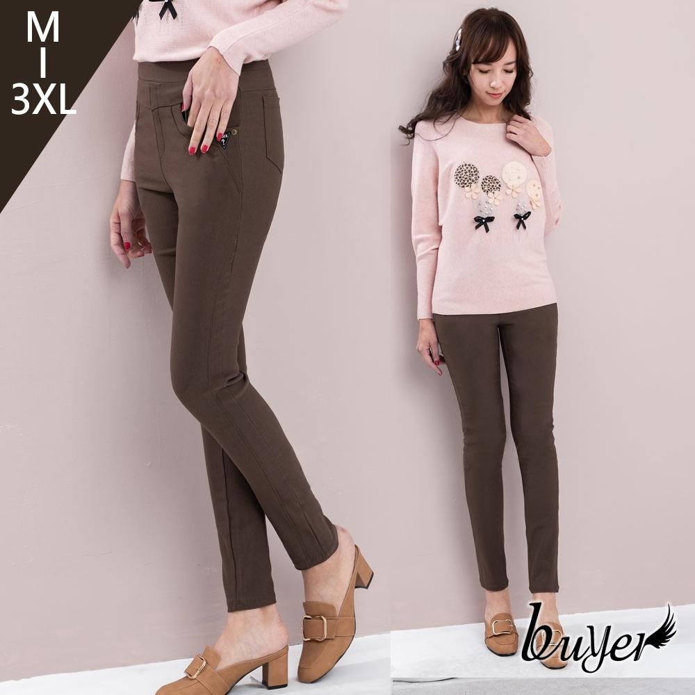 【buyer 白鵝】台灣製 經典顯瘦美腿休閒褲 (咖啡)