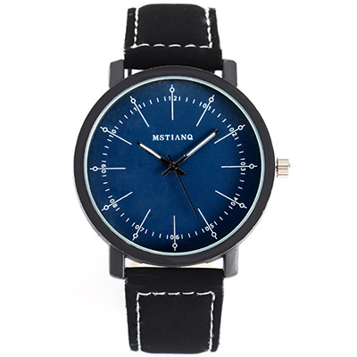 Watch-123 好感外在-簡約大錶盤黑白個性情侶手錶 (2色任選)
