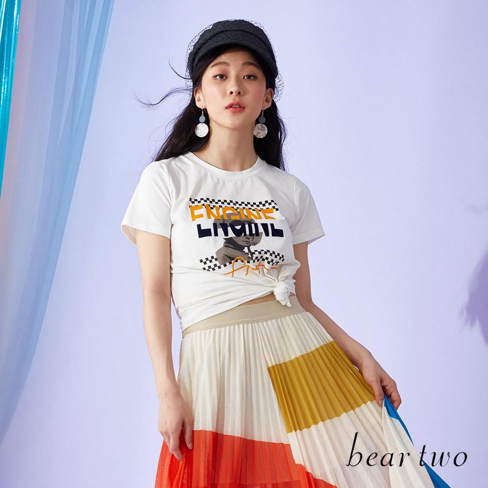 beartwo 賽車風數位印刷T恤上衣(二色)