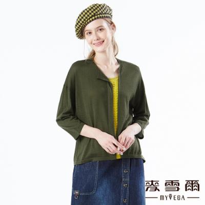 【麥雪爾】跳色拼接七分袖針織上衣-綠
