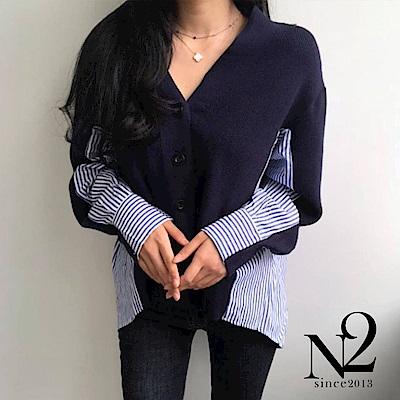 上衣 異材質拼接條紋襯衫造型針織上衣(藍) N2