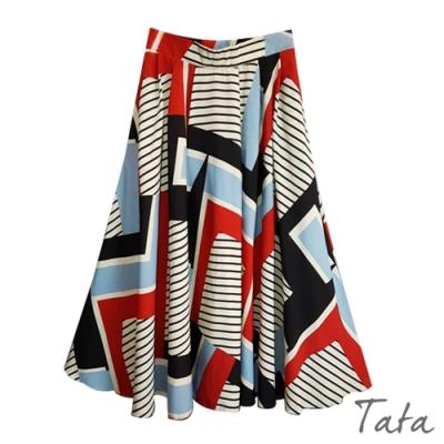 拼接幾何雪紡裙 TATA-F