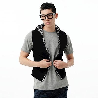 【EDWIN】休閒時尚 針織接格連帽背心-男款(百搭黑)