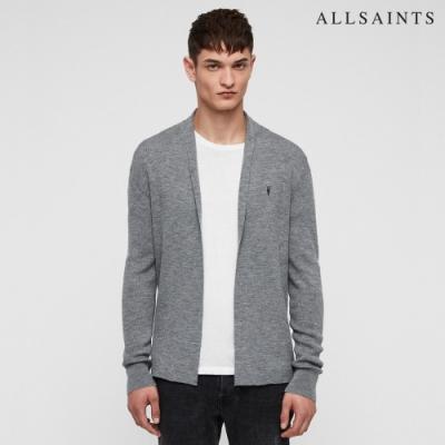 ALLSAINTS MODE MERINO 公羊頭骨刺繡美麗諾羊毛修身針織外套-灰