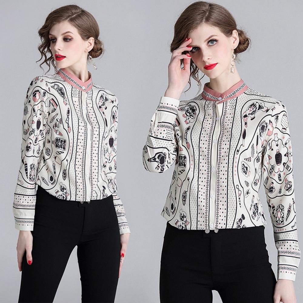簡約優雅時尚印花襯衫S-XL-M2M