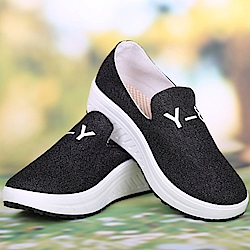 韓國KW美鞋館 踏青好時光學園風健走鞋-黑色