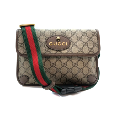 GUCCI GG Supreme 帆布綠紅綠織背帶腰包/斜背包(493930-咖)