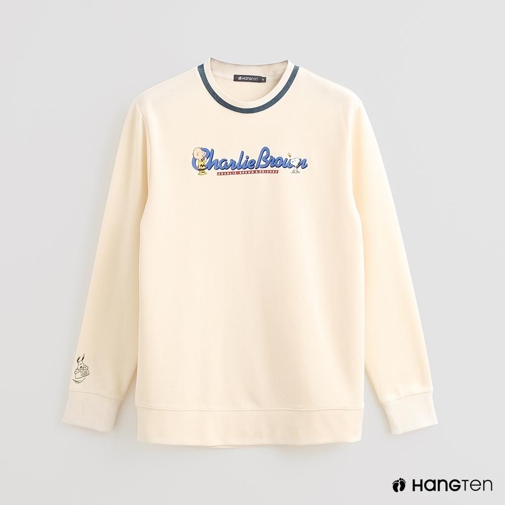 Hang Ten - Charlie Brown-簡約印花長袖上衣 - 米