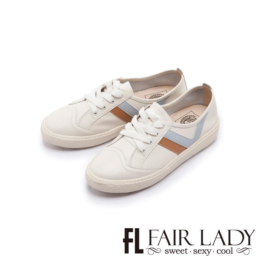 FAIR LADY Soft Power 軟實力全真皮側V拼接厚底休閒鞋 白