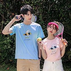 情侶系列-高含棉可愛卡通短袖上衣/T恤(女)-OB大尺碼