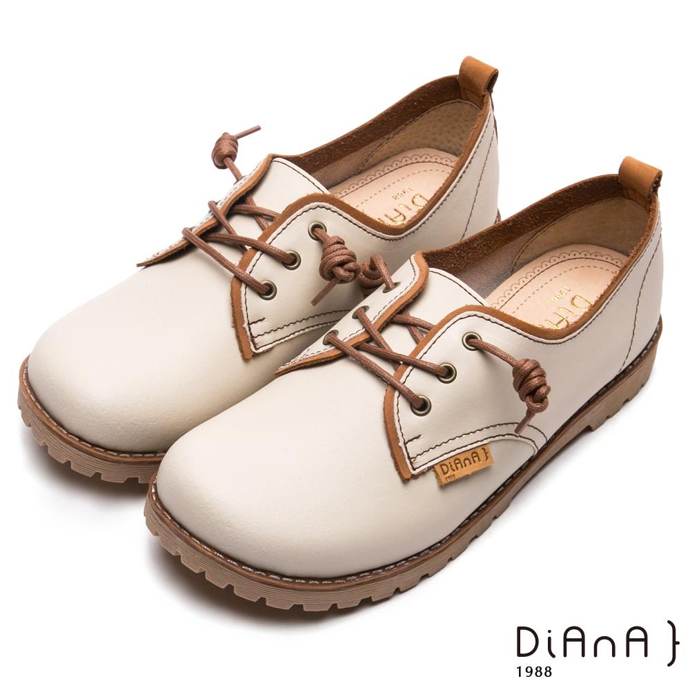 DIANA真皮綁帶工程休閒鞋-漫步雲端厚切焦糖美人-米
