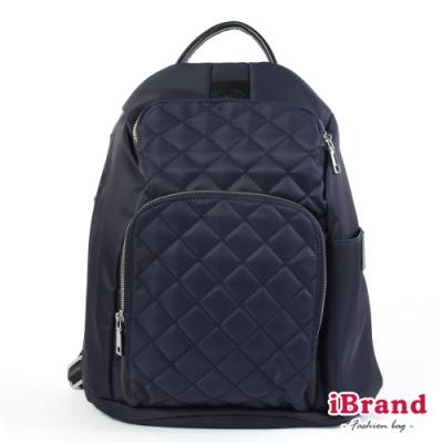 iBrand後背包 率性菱格紋後開式防盜尼龍後背包(M)-深靛藍