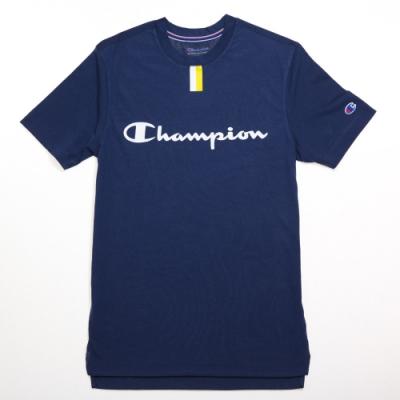Champion 冠軍 美版印刷文字短袖圖案T恤-深藍色