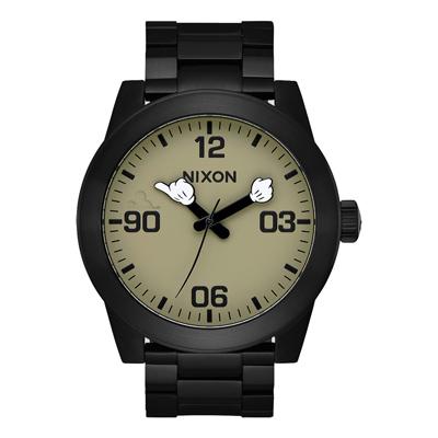 NIXON  Mickey 90週年聯名紀念軍事風格腕錶-黑色(A3463094)