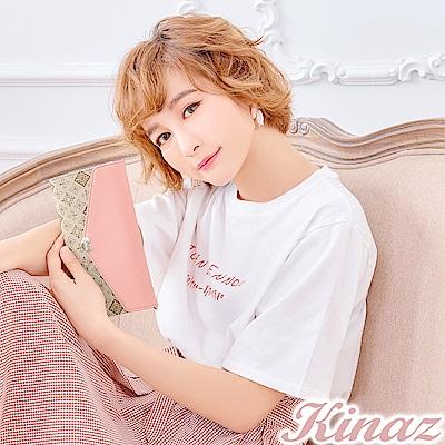 KINAZ 露天晚宴L型拉鍊三折長夾-粉系戀曲-莊園系列