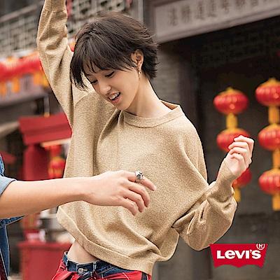 Levis 針織毛衣 女裝 羊毛 寬鬆短版 落肩設計 典雅金