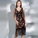 OMUSES V領手工縫珠雙色滿版亮片流蘇洋裝舞衣