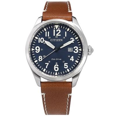 CITIZEN 光動能 經典百搭 日期 防水 小牛皮手錶-藍x銀框x咖啡/42mm