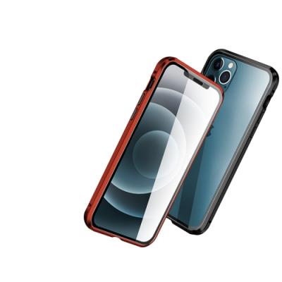 iPhone 12 保護殼 金屬 透明 全包覆 磁吸雙面玻璃殼 手機殼 黑色 (iPhone12手機殼 iPhone12保護殼 )