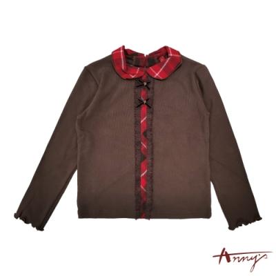 Annys安妮公主-格紋拼接雙蝴蝶結造型秋冬款長袖上衣*1446咖啡
