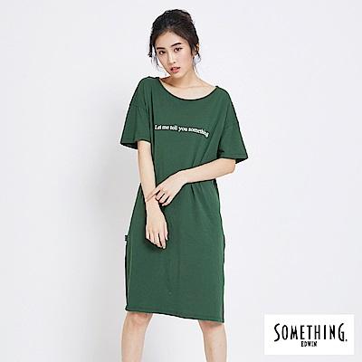 SOMETHING 標語長版圓領T恤-女-綠色
