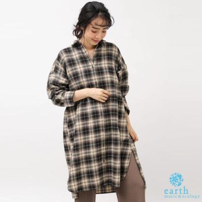 earth music 素面/格紋法蘭絨開襟襯衫式洋裝