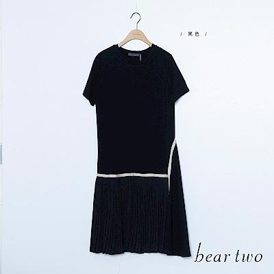 beartwo 拼接百褶短袖白條設計洋裝(黑色)
