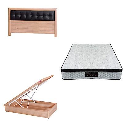 綠活居 亞多3.5尺單人床台三式組合(床頭片+後掀床底+正三線涼感獨立筒)五色可選