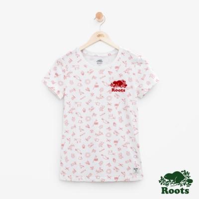 女裝Roots加拿大系列-滿版印花短袖T恤-白