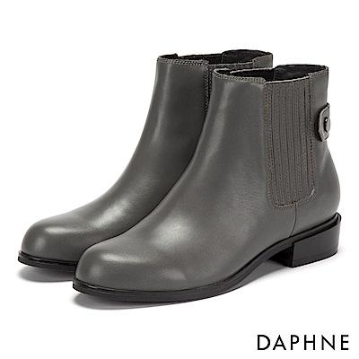 達芙妮DAPHNE 短靴-彈性U字材質拼接低跟圓頭短靴-灰