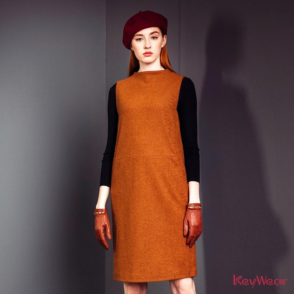 KeyWear奇威名品    羊毛俐落小立領無袖洋裝 -卡其色