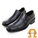GEORGE 喬治皮鞋 經典系列 側v切口鬆緊帶方頭紳士鞋 -黑