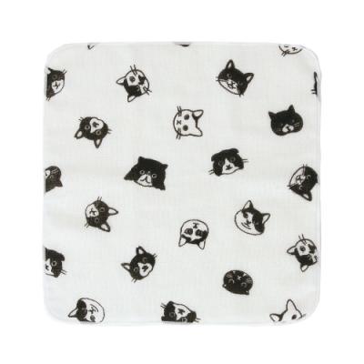 日本派迪 白黑先生紗布方巾-貓咪環繞