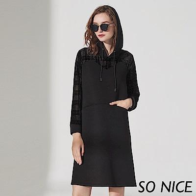 SO NICE個性微透格紋連帽洋裝 @ Y!購物