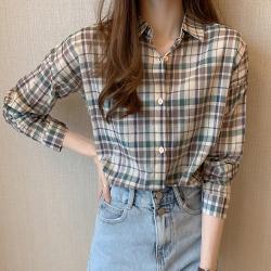 Lockers 木櫃 英倫格紋趣寬鬆復古襯衫/防曬外套-2色