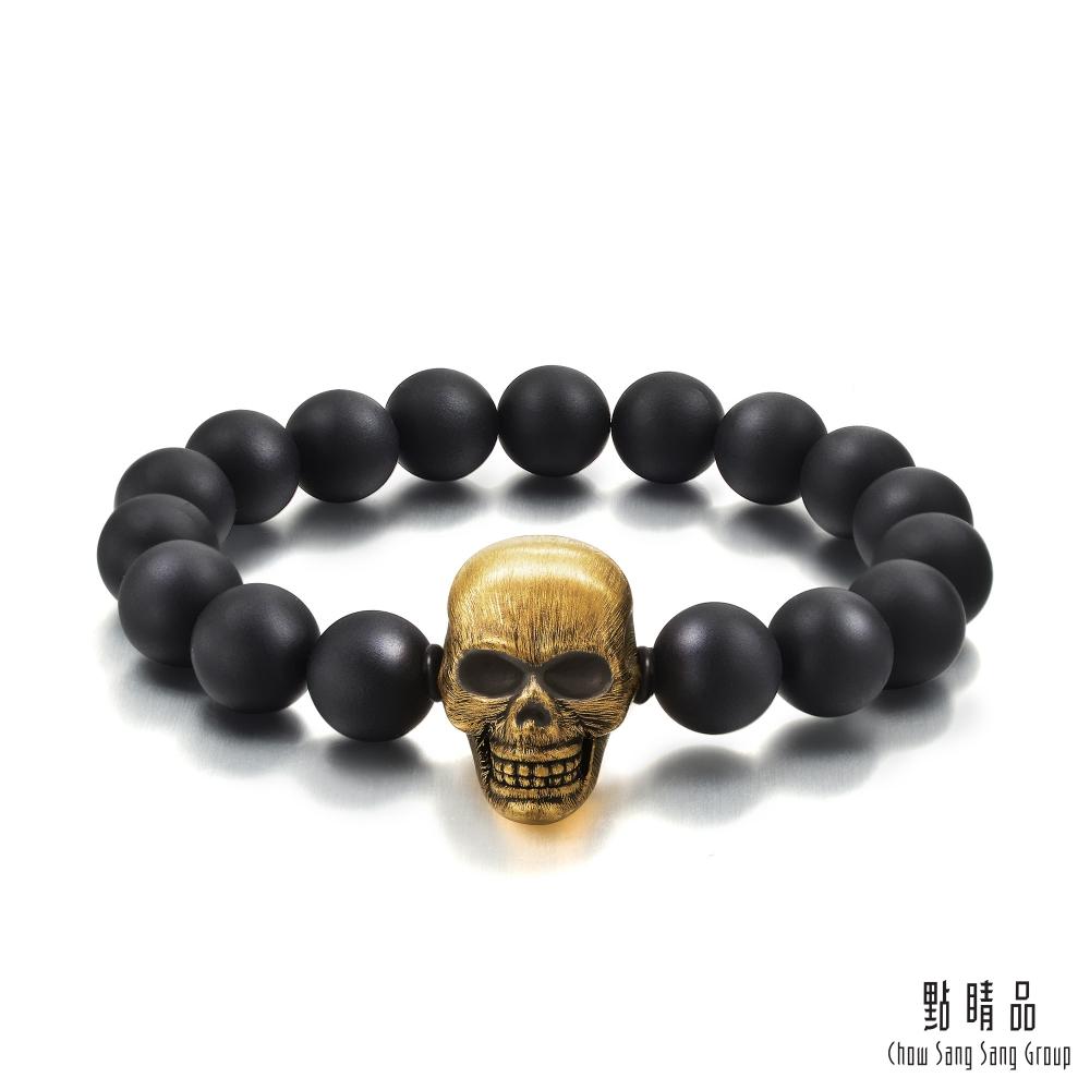 點睛品 Noir系列 大骷顱頭 黃金手環(22cm)