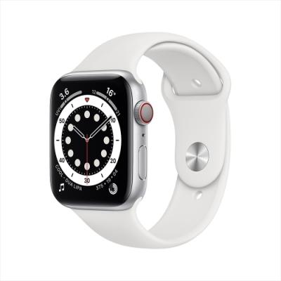 (時時樂)Apple Watch S6 44mm 鋁金屬錶殼配運動錶帶(GPS)-銀色+白色錶帶