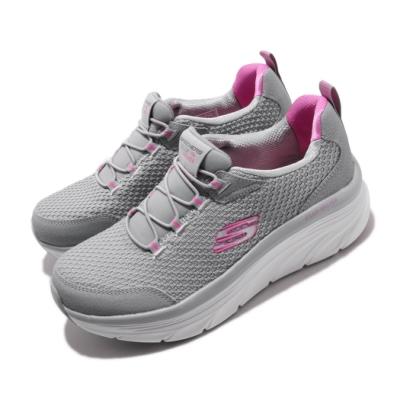 Skechers 休閒鞋 D Lux Walker 厚底 微增高 女鞋 健走鞋 透氣 記憶型泡棉鞋墊 穿搭 灰 粉 149004GYHP