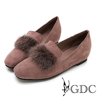 GDC-秋冬小奢華名媛貂毛微方頭內增高包鞋-駝色