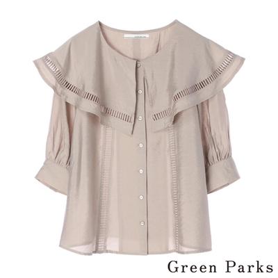 Green Parks 甜美荷葉蕾絲領口襯衫上衣